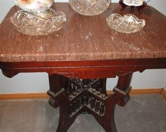 marble topped stand & cut glass
