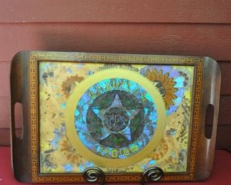 American legion tray, marquetry with butterfly wings. AF $30.00