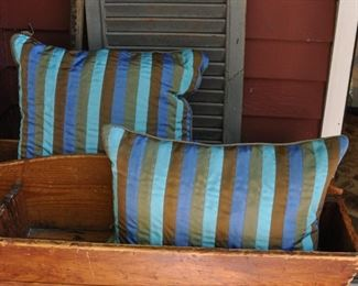 Pr cushions made from grow grain ribbons, down filled. $20 both.