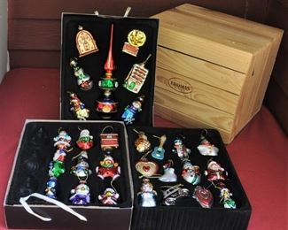 Thomas P trunk of collectible ornaments. All figural. $35.00