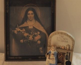 Kitchen Madonna  Vintage Japan ceramic: $16.00... Vintage framed Mary(?) Saint Rita? $28.00