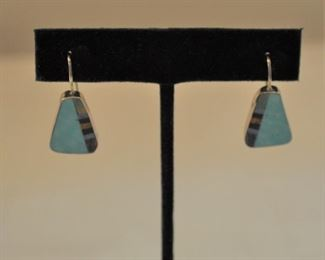 David Aguilar earrings, sterling and turquoise with lapis etc.. pr $24.00