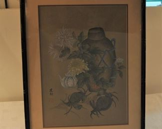 Signed Japanese woodblock with crabs and flowers...$80.00