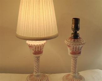 Italian oil lamps made into pretty lamps! $45.00