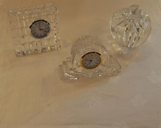 Waterford clocks $20 each. Waterford apple  paperweight $24.00