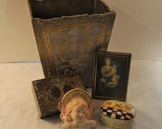 Florentine waste can $18, & box  $12, both wooden. Italy Angel head $32  porcelain, Kashmir kitties box $8, Mary and child Italian frame $12.50