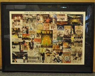 "Vintage Boston Garden framed poster purchaed at the Ted Williams store (47"" x 37""):  $200,"