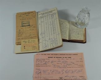 Railroad ephemera, N.Y., New Haven R.R. Co. Fare receipts book, deposit slips, ticket (1950's), and personal travel diary: $25