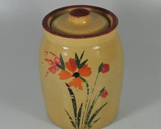 Vintage yellow ware cookie/dog biscuit jar. Hand painted. Lid has had a couple of chips reglued but cover works fine. $18