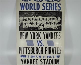 1927 World Series poster. Corners are dog-earred but overall condition good: $20