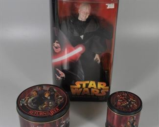Two Return of the Jedi tins and boxed action figure 9Darth Sidious).: $20