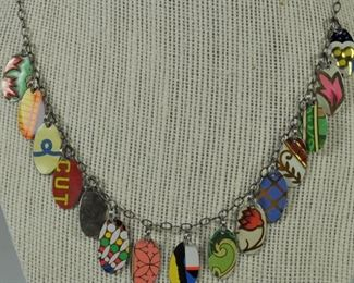 Hand made necklace made from pieces of vintage tins. Made in 1990's - unworn. $30