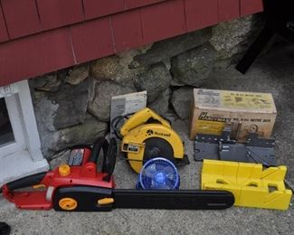 "Homelite electric saw (16""): $12. Rockwell Circular saw 1 HP 7 1/4"": $25. Stanley Handyman No. H 114 mitre box: $15. Buck Bros 12"" mitre box $10"