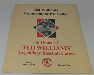 Ted williams Commemorative Folder, May 12, 1991: good condition - no tears. Some fading : $10