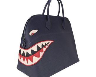 HERMES LIMITED EDITION SHARK BOLIDE MONSTER BAG IN BLUE NUIT