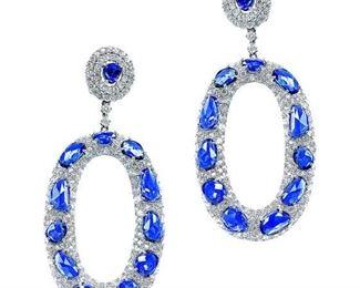 A PAIR OF ROYAL BLUE SAPPHIRE EARRINGS