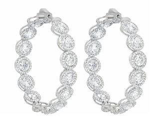 A PAIR OF DIAMOND HOOP EARRINGS, 12.20 CARATS