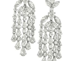 A PAIR OF DIAMOND CHANDELIER EARRINGS, 18.05 CARATS Elegant platinum chandelier earrings with mixed pear, marquise, and round cut diamonds, a total of of 18.05 carats of diamonds.