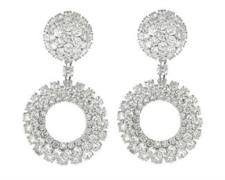 A PAIR OF WHITE DIAMOND EARRINGS, 37.00 CARATS Dazzling circle style pave diamond fashion earrings with round brilliant cut diamonds, 37.00 carats in total, set in 18K white gold.