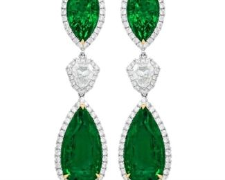A PAIR OF EMERALD AND DIAMOND EARRINGS Elegant pear-shaped emerald and diamond pendant earrings in three pieces, the 29.50 carats of GIA certified Zambian emeralds, set with 4.6 carats of white diamonds. Gorgeous. Natural untreated diamonds, the white diamonds near colorless white, slightly included. WITH GIA CERTIFICATE