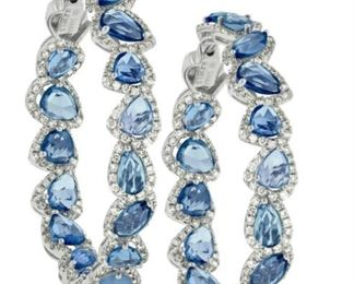 A PAIR OF DIAMOND AND SAPPHIRE EARRINGS Most attractive 18K white gold hoop earrings featuring 2.73 karats of white diamonds and 14.50 carats of multi-shaped sapphires, assembled in a chandelier style.