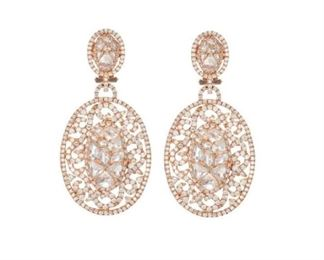 A PAIR OF DIAMOND AND ROSE GOLD EARRINGS Delicate and graceful diamond earrings, 8.05 carats of white diamonds mounted throughout the lace-like 18K rose gold settings.