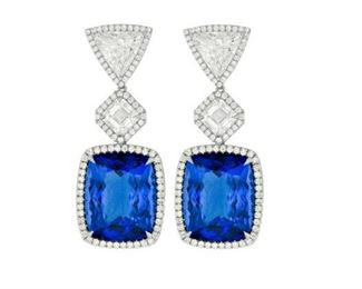 A PAIR OF TANZANITE AND DIAMOND EARRINGS Tanzanite and diamond earrings featuring 33.79 carats total GIA certified tanazanite stones (16.89 and 16.90 carats), set beneath two sparkling 2.62 carat total GIA certified Ascher cut diamonds (1.32 ct. I-VS2 ASS, 1.30 ct. I-VS2 ASS), which are even further enhanced by two trillion cut diamonds (3.06 carats total) surrounded by 1.77 carats of micropave round diamonds. A stunning set.