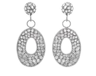 A PAIR OF DIAMOND EARRINGS, 26.43 CARATS Splendid hanging drop earrings, 26.43 carats of white rose cut diamonds set in 18K white gold.