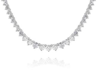 A DIAMOND TENNIS NECKLACE Wonderful diamond opera tennis necklace, 184 prong-set white stones totaling 35.35 carats, set in 18K white gold. Natural untreated diamonds, the white diamonds near colorless white, slightly included.