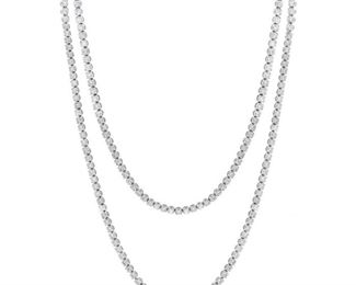 A DIAMOND RIVIERA NECKLACE, 19.40 CARATS Long Riviera necklace, features 213 diamonds mounted in 18KT white gold, a total of 19.40 carats.