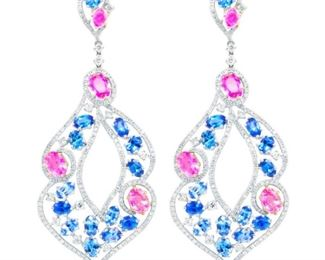A PAIR OF SAPPHIRE AND DIAMOND EARRINGS Delightful 18K white gold, sapphire and diamond earrings, boasting a total of 19.32 carats of sapphires and 10.07 carats of diamonds. Lighthearted and pretty. Natural untreated diamonds, near colorless white, slightly included.