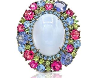 A MOONSTONE RING, 13.53 CARATS Colorful moon stone ring, a 13.53 carat center moon stone surrounded by colorful stones all set in 18K white gold. All stones natural and untreated.
