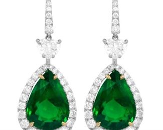 A PAIR OF EMERALD AND DIAMOND EARRINGS Emerald and diamond earrings, the emeralds totaling 15.34 carats and set in a halo, suspended beneath two GIA-certified heart-shaped diamonds, E, VS2, a total of 3.76 carats of white diamonds. With two GIA diamond certificates. GIA CERTIFICATE #6211031907 : #6211476656