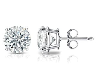 A PAIR OF DIAMOND EARRINGS, 5.62 CARATS Beautiful diamond stud earrings, a total of 5.62 carats of white diamonds in four-prong 18K white gold settings. Natural untreated diamonds, the white diamonds near colorless white, slightly included.