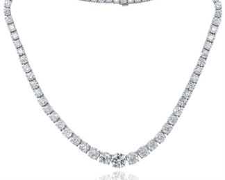 A DIAMOND AND PLATINUM NECKLACE, 48.86 CARATS TW Breathtaking diamond and platinum necklace, 73 round-cut diamonds with a large central round diamond, GIA certified, (RDC4095 J-SI2), all set in set in platinum. A total of 48.86 carats of white diamonds. With GIA certificate. Other stones are natural untreated diamonds, near colorless white, slightly included. GIA CERTIFICATE #1186858125