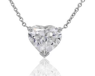 A HEART-SHAPED DIAMOND NECKLACE Eternal 3.81 carat white heart-shaped diamond, GIA certified I, SI2, with white 18KT gold chain. With GIA certificate. GIA CERTIFICATE #2165594223