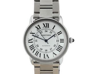 CARTIER RONDE SOLO DE CARTIER Timeless women's Cartier Ronde Sole de Cartiers, stainless steel 29mm. case with stainless band, quartz movement, white dial with Roman numerals, date indicator. Very good condition with little to no sign of wear.
