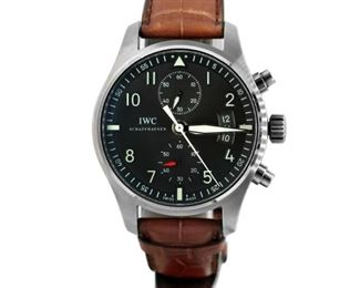 """IWC SPITFIRE IWC Spitfire men's wristwatch, stainless steel 43mm. case with brown 7.5"""" long alligator band with deployment clasp. Automatic movement with chronograph, elapsed minutes, and date, serial number: 5xxxxxx. Near new, with original box and papers."""