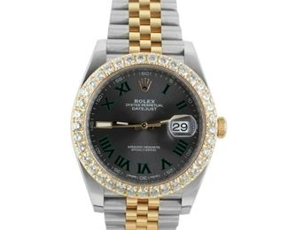 """ROLEX DATEJUST WITH DIAMOND BEZEL, """"SHADOW"""" DIAL A knockout Rolex Datejust, 41mm. stainless steel and gold case, with matching bracelet and crown. The bezel is dazzlingly set with 37 round diamonds in yellow gold. The dial is equally impressive, with """"shadow"""" Roman numerals and a single luminescent tab. 2018. Mint condition, no sign of wear. Original box."""
