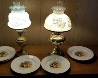 Hurricane lamps & Embassy Vitrified China plates