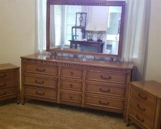 Wooden Dresser/Mirror with Nightstands