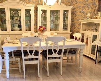 Excellent White Wood Dining Set, China Cabinets & Buffet Serving Cab. We think Broyhill.