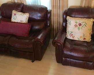 High End Burgundy Red  Recliners, single and double.