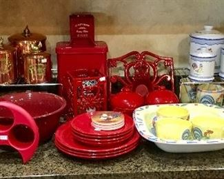 Red Dinnerware, canisters, etc.