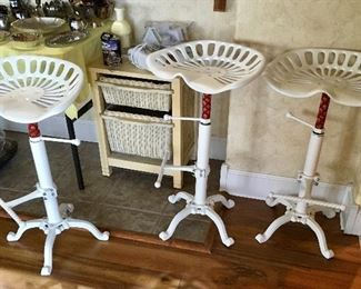 3 Cast Metal tractor seats in new condition bar stools.