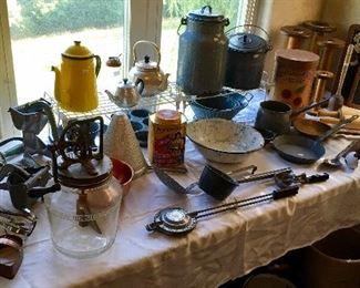 Vintage & Antique Graniteware, Glass bottom Churn, and more.