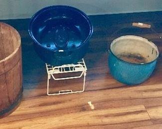 Vintage Crock , Wood Basket, Blue Granite Pot.