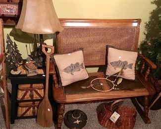 Outstanding Beautiful rare wood, leather, and cane Love Seat rocker.