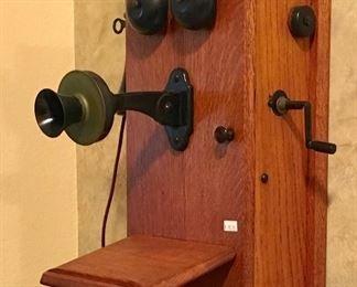 Excellent Antique Wood Wall Crank Telephone case, no guts.