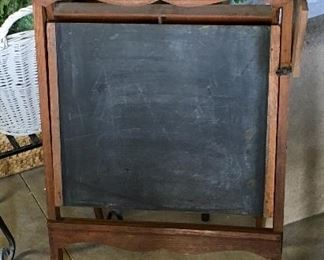 RARE Antique Scroll Wood School Chalk board stand.
